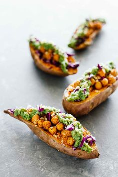Baked Sweet Potatoes w/ Chickpeas & Broccoli Pesto! Vegan, vegetarian, gluten-free, and under 30 minutes.