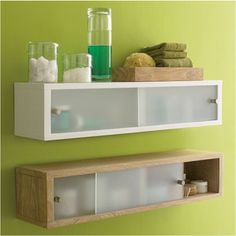 Floating shelves with extra storage