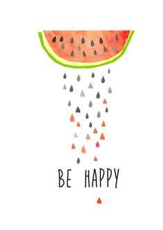 Illustration mit Melonen, Sommer, Wanddeko / summerly illustration, watermelon, art made by Haus nr.26 via DaWanda.com