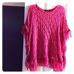 Poncho Hot Pink Poncho Forever 21 Sweaters Shrugs & Ponchos