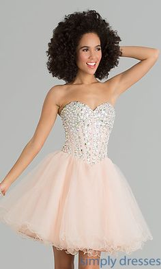 Shop corset top party dresses and fit and flare short dresses for homecoming at Simply Dresses.  Short corset top sweetheart dresses for prom.