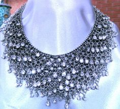 Renaissance Wedding Necklace -  chainmaille with rhinestones - vintage look bib style...........gorgeous