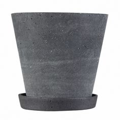 Flower Pot With Saucer - Black - Medium