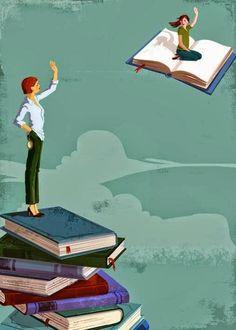 fly away.in the world of books I Love Books, Books To Read, My Books, Reading Art, I Love Reading, Reading Room, Art And Illustration, Illustrations, Icami Tiba