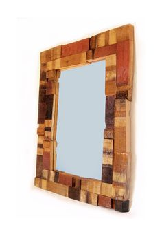 Recycled oak wine barrel staves ends, scraps framed wall mirror