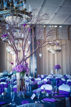 Purple Branch Centerpieces Hung with Votive Candles | The Bloom Room LLC | Ama Photography | TheKnot.com