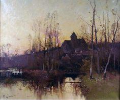 H. LENOIR, pseudonyme de Eugène GALIEN LALOUEb (Paris 1854 - Chérence 1941) Paysage au soleil couchant à Montigny
