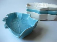 Aqua+and+White+Leafy+Ceramic+Vintage+Dish+Set+by+jenscloset,+$23.50