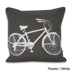 @Overstock.com - This fun throw pillow features a two-tone color scheme with a classic bike on the cover. This pillow is constructed with self-welt edging and duck feather fill.  http://www.overstock.com/Home-Garden/Bicycle-20x20-inch-Decorative-Throw-Pillow/7867026/product.html?CID=214117 $32.99