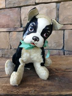Vintage Rushton Boston Terrier 1960s Tagged Star Creation Collectable Rare Stuffed Animal Dog Old Plush Doll Toys Cute Black White