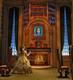 Beauty and the beast..  Belle and her library