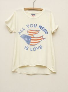 Junk Food Clothing  Kids Girls All You Need is Love High Low Tee  $34  www.junkfoodclothing.com