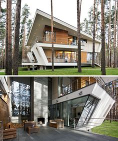 Love this modern architecture - the mixture of wood and glass and metal is great