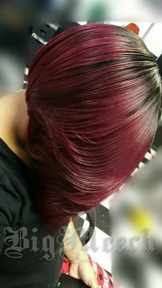 Asymmetrical bob layered and feathered sew-in, custom color