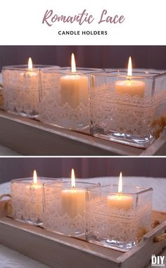 Learn how to make elegant candle holders with lace trim! Beautiful way to decorate for Valentine's Day. These DIY Romantic Lace Candle Holders will add the perfect touch of romance to any decor. #romantic #lace #candles #diywedding #howtodecorateweddingcandles