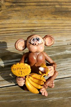 *POLYMER CLAY ~ Monkey Love Polymer Clay Sculpture.