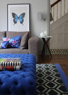 our Designers Guild rug Home Living Room, Living Spaces, Tricia Guild, Blue Lounge, Blue Rooms, Palette, Home Decor Inspiration, Decor Ideas, Room Colors