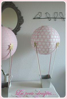 deco bapteme fille rose montgolfiere dore dragees \u2026