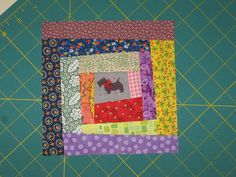 tutorial: wonky scrappy I-spy log cabin quilt block