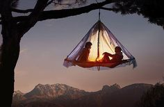 Image: People relaxing on a portaledge hanging from a tree in the German Alps in September