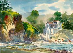 Mel Shaw - Shaw's Cove, Laguna Beach, 1959 - California art - Californiawatercolor.com