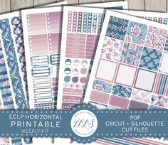 EC horizontal planner stickers / Printable planner accessories / Romantic planner stickers / Watercolor stickers / Winter planer / HS121