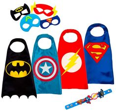 Capas y Antifaces para Disfraz de SuperHéroe y SuperHeroínas  ¿Qué os parece la idea de un pack con antifaces y capas de los superhéroes y las superheroínas más carismáticos? Pues topé con el…