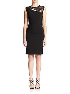 BCBGMAXAZRIA Lace-Trim Jersey Dress/sks