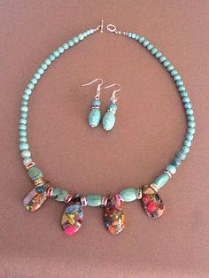 Turquoise Howlite Jasper Sea Sediment Gemstone Rhinestone Necklace Earrings SET  Purchase from https://www.etsy.com/shop/TahoeBlueDesigns