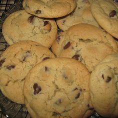 Soft & Chewy Chocolate Chip Cookies: 1 1/4 c sugar; 1 1/4 c brown sugar; 1 1/2 c butter, softened; 2 tsp vanilla; 3 eggs; 4 1/4 c flour; 2 tsp soda; 1/2 tsp salt; 2-4 c chocolate chips......375 for 10-12 mins.