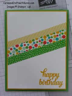 Washi Birthday card using Cherry on Top Washi tape and Tin of Cards stamp set by Stampin Up!