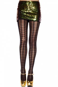 Music Legs - Classic Black Houndstooth Tights