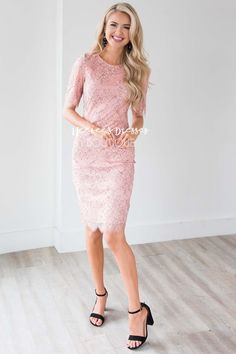 Rylee Eyelash Lace Dress Blush With Black Outline Lace Modest Church Dress Modest Bridesmaid Dresses, Blush Dresses, Modest Dresses, Elegant Dresses, Bridesmaids, Sexy Dresses, Summer Dresses, Formal Dresses, Wedding Dresses