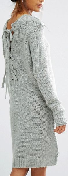For colder weather, try a sweater dress with lace-up back detail. Let Daily Dress Me help you find the perfect outfit for whatever the weather! dailydressme.com/