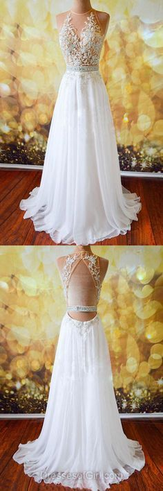 Open Back Round Neck Prom Dress, Chiffon Long Evening Dress, White Applique Party Dress