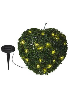 Maison & Garden - Solar powered heart shaped faux topiary with stake