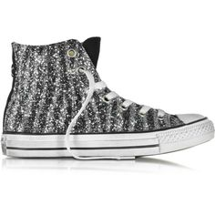 Converse Limited Edition Shoes All Star High Animal Glitter LTD... (€240) ❤ liked on Polyvore featuring shoes, sneakers, black canvas shoes, canvas sneakers, animal print sneakers, animal trainer and black glitter sneakers