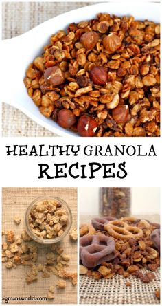 Healthy Granola Recipes- including chocolate peanut butter, sweet and salty and more!