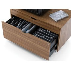 """BDI Modica 2 Drawer Mobile File Pedestal on 19"""" high so not enough height but holds a lot of files with supply drawer for paper/pens and room for printer and maybe tabletop shredder on top"""