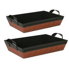 Wald Imports 14.5-inch Faux Leather Sided Tray (Set of 2)