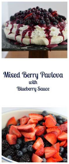 Mixed Berry Pavlova with Blueberry Sauce is so good!  It's a light and fluffy dessert perfect for any occasion! | Beer Girl Cooks