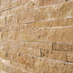 split face tumbled stone backsplash ideas   Noce 6x24 Split-Face - Travertine Split-Face