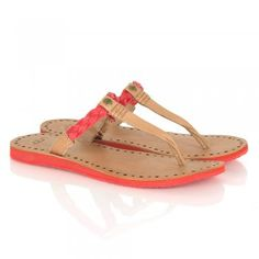 UGG® Australia Authorised Retailer Bria Tomato Soup Leather Women's Toe Post Sandal