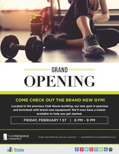 Mark your calendars! Our brand new gym is opening next month! Come to our grand opening and check out the new building and equipment. We're excited to share this renovated amenity with you!