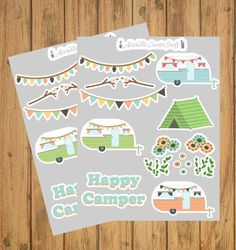 2 Pack Happy Camper Stickers - Camping Gift - Planner Stickers - Outdoor Lover Gift -Planner Decorat