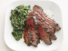 Steak With Parmesan Spinach from #FNMag #myplate #protein #veggies