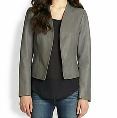 NWT- JOIE Dark Grey Leather 'Venette' Jacket 100% lambskin leather open front jacket. Lined.  BRAND NEW, NEVER WORN SIZE:  X-Small From Sak's Fifth Avenue  Please if you are making an offer on this item keep in mind it is an $800 brand new jacket. Thanks so much!  I work in L.A as a wardrobe stylist for film and television. All my items are authentic and come from high end boutiques or stores. Joie Jackets & Coats