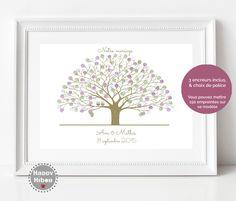 """Arbre à empreintes personalisé mariage, livre d'or """"wedding tree"""" 42 x 29 cm, ref: Chêne, sans cadre"""