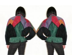 Color Block Suede Bomber Batwing Leather Jacket Unique Colorful 80's 90's Hipster Hip Hop Green Red Purple Leather Fall Winter Outerwear
