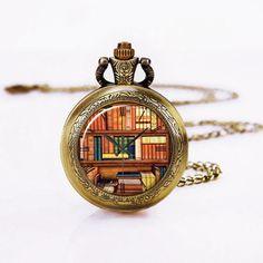 Taschenuhr Kette-So viele Bücher So wenig Zeit-Quarz Anhänger Halskette, Vintage Style Halskette für Mädchen, Frauen, Mutter